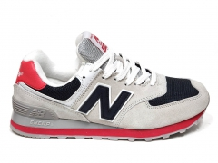 New Balance 574 Light Grey/Navy/Red PS