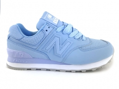 New Balance 574 Snake Leather Light Blue/White