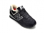 New Balance 574 Suede/Leather Black/Grey (с мехом)