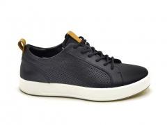 Ecco Soft 8 Leather Low Sneaker Black/White