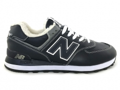 New Balance 574 Leather Navy/White (с мехом)