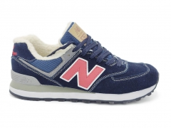 New Balance 574 Suede Navy/SolarRed/White (с мехом)