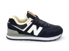 New Balance 574 Suede Black/White (с мехом)