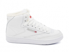 Reebok Classic Club C Mid Leather All White (с мехом)