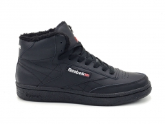 Reebok Classic Club C Mid Leather All Black (с мехом)