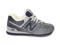 New Balance 574 Grey/Blue Suede N19 (с мехом)