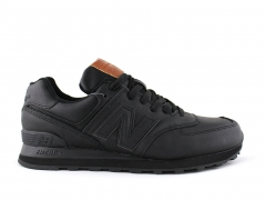 New Balance 574 Black Leather/Brown