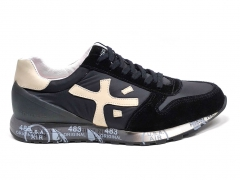 Premiata Sneakers Suede/Canvas Black/Beige PM02