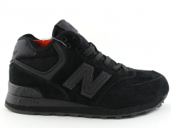 New Balance 574 Mid All Black (с мехом)