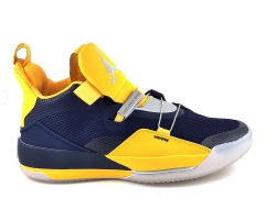 "Air Jordan 33 ""Michigan"" PE Navy Blue/Maize"