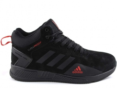 Adidas Climaproof Mid Suede Black/Red (с мехом)