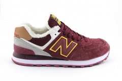 New Balance 574 Burgundy/Yellow (с мехом)