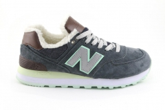 New Balance 574 Dark Blue/Mint/Brown (с мехом)