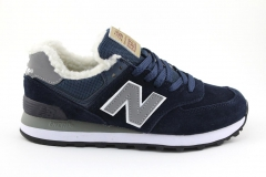 New Balance 574 Dark Blue (с мехом)