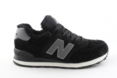 New Balance 574 Black/Grey (с мехом)