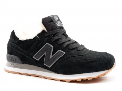 New Balance 574 Black/White Suede N19 (с мехом)