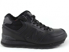 New Balance 574 Mid D19 Leather All Black (с мехом)
