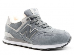 New Balance 574 D19 Suede Grey (с мехом)