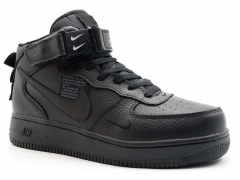 Nike Air Force 1 Mid '07 LV8 All Black N19 (с мехом)