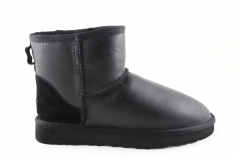 Полусапоги UGG Classic Mini Black Leather (с мехом)