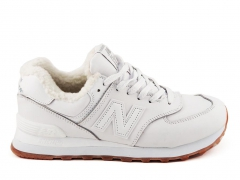 New Balance 574 White Leather (с мехом)